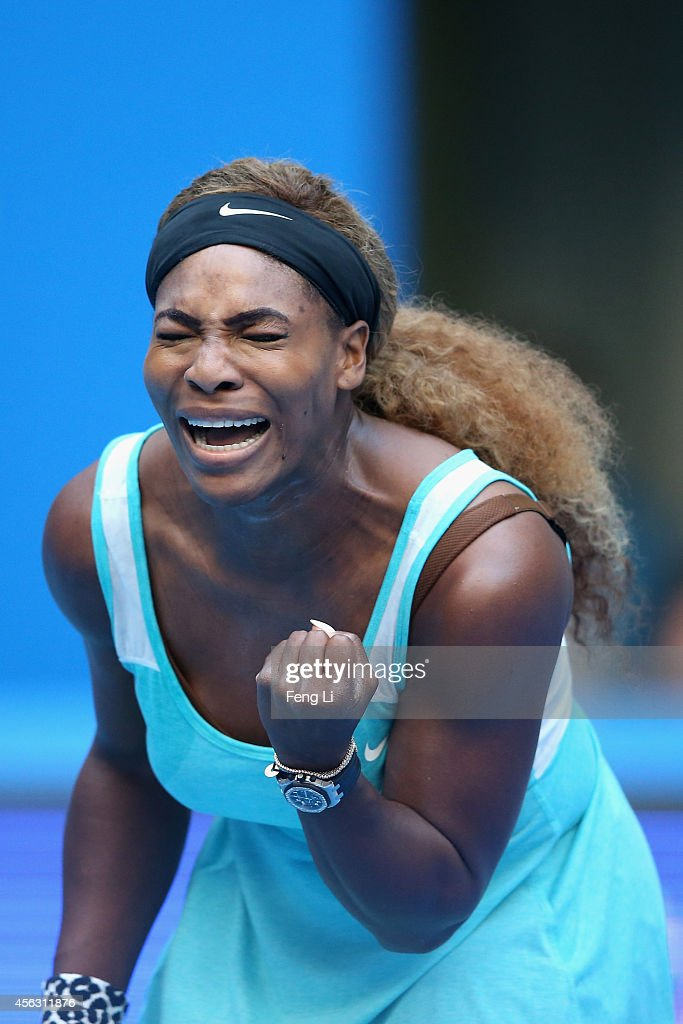 Serena Williams of the United States celebrates a ball against Silvia Soler-Espinosa of Spain during day three of the China Open at the China National Tennis Center on September 29, 2014 in Beijing, China.
