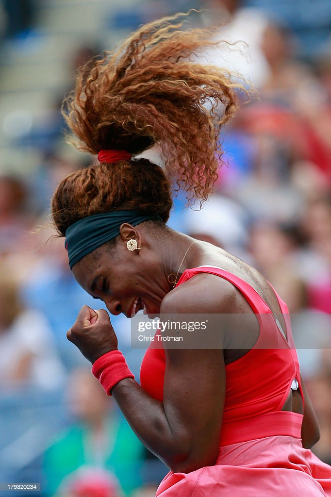 <a gi-track='captionPersonalityLinkClicked' href=/galleries/search?phrase=Serena+Williams&family=editorial&specificpeople=171101 ng-click='$event.stopPropagation()'>Serena Williams</a> of the United States celebrates a point during her women's singles fourth round match against Sloane Stephens of United States on Day Seven of the 2013 US Open at the USTA Billie Jean King National Tennis Center on September 1, 2013 in New York City.