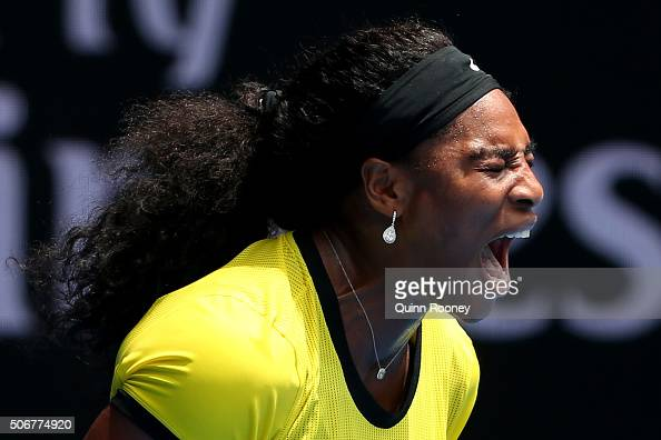 Serena Williams of the United States celebrates a point in her quarter final match against Maria Sharapova of Russia during day nine of the 2016...