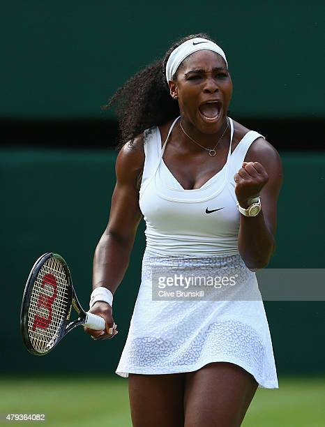 Serena Williams of the United States celebrates a point in her Ladies' Singles Third Round match against Heather Watson of Great Britain during day...