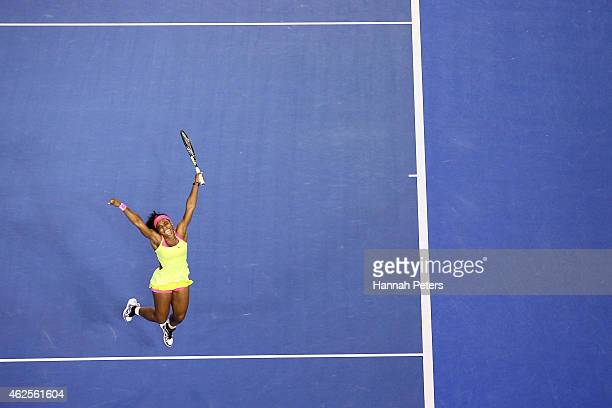 Serena Williams of the United States celebrates a point in her women's final match against Maria Sharapova of Russia during day 13 of the 2015...