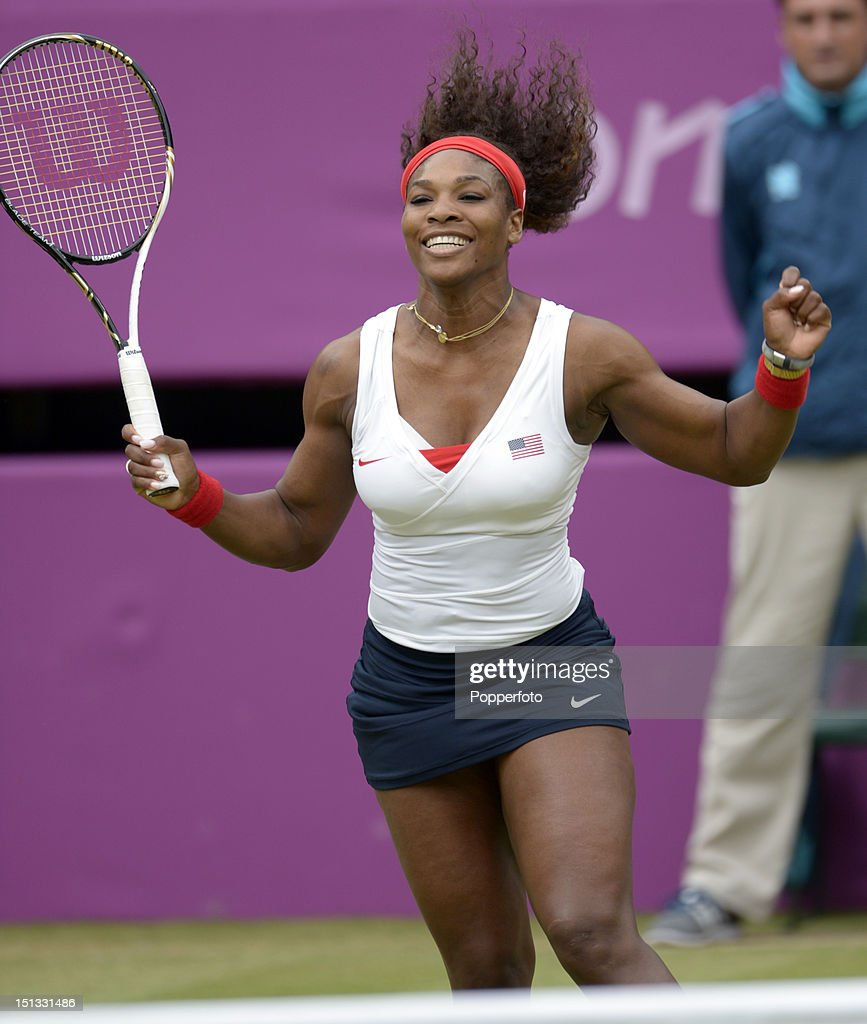 Serena Williams of the United States celebrates after defeating Andrea Hlavackova and Lucie Hradecka of Czech Republic in the Women's Doubles Tennis gold medal match on Day 9 of the London 2012 Olympic Games at the All England Lawn Tennis and Croquet Club on August 5, 2012 in London, England.