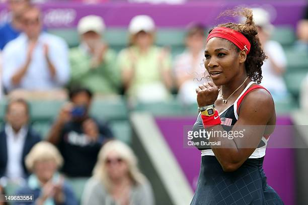 Serena Williams of the United States celebrates after defeating Caroline Wozniacki of Denmark in the Quarterfinals of Women's Singles Tennis on Day 6...