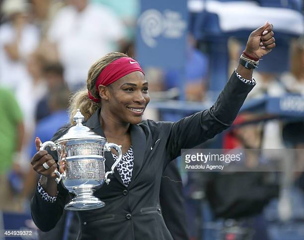 Serena Williams of the United States celebrates after defeating Caroline Wozniacki of Denmark to win their women's singles final match on Day...