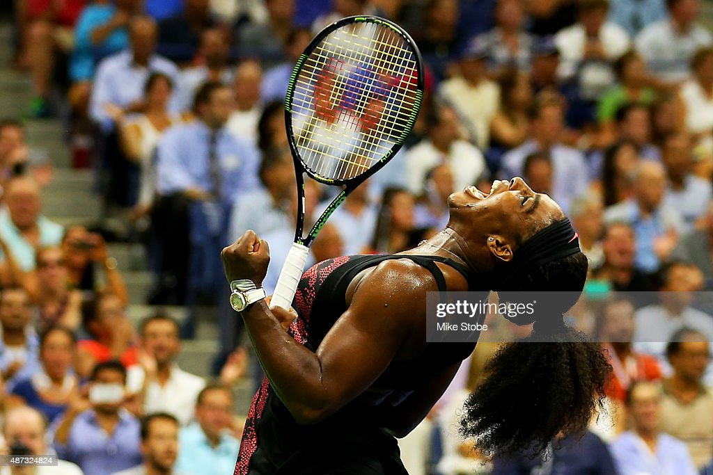 <a gi-track='captionPersonalityLinkClicked' href=/galleries/search?phrase=Serena+Williams&family=editorial&specificpeople=171101 ng-click='$event.stopPropagation()'>Serena Williams</a> of the United States celebrates after defeating Venus Williams of the United States in their Women's Singles Quarterfinals match on Day Nine of the 2015 U.S. Open at the USTA Billie Jean King National Tennis Center on September 8, 2015 in the Flushing neighborhood of the Queens borough of New York City.