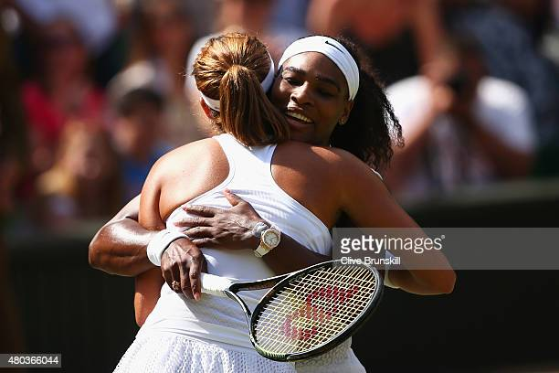 Serena Williams of the United States celebrates after winning the Final Of The Ladies' Singles against Garbine Muguruza of Spain during day twelve of...
