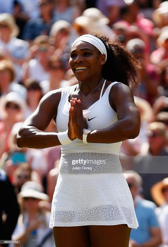 Serena Williams of the United States celebrates after winning the Final Of The Ladies' Singles against Garbine Muguruza of Spain during day twelve of the Wimbledon Lawn Tennis Championships at the All England Lawn Tennis and Croquet Club on July 11, 2015 in London, England.