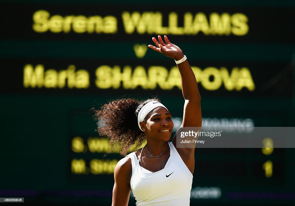 <a gi-track='captionPersonalityLinkClicked' href=/galleries/search?phrase=Serena+Williams&family=editorial&specificpeople=171101 ng-click='$event.stopPropagation()'>Serena Williams</a> of the United States celebrates after winning the Ladies Singles Semi Final match against Maria Sharapova of Russia during day ten of the Wimbledon Lawn Tennis Championships at the All England Lawn Tennis and Croquet Club on July 9, 2015 in London, England.
