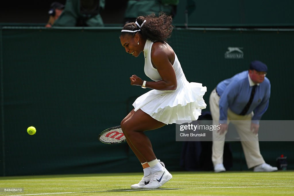 <a gi-track='captionPersonalityLinkClicked' href=/galleries/search?phrase=Serena+Williams+-+Tennis+Player&family=editorial&specificpeople=171101 ng-click='$event.stopPropagation()'>Serena Williams</a> of The United States celebrates during the Ladies Singles first round match against Amra Sadikovic of Switzerland on day two of the Wimbledon Lawn Tennis Championships at the All England Lawn Tennis and Croquet Club on June 28, 2016 in London, England.