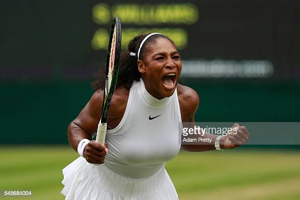 Serena Williams of The United States celebrates during The Ladies Singles Final against Angelique Kerber of Germany on day twelve of the Wimbledon...