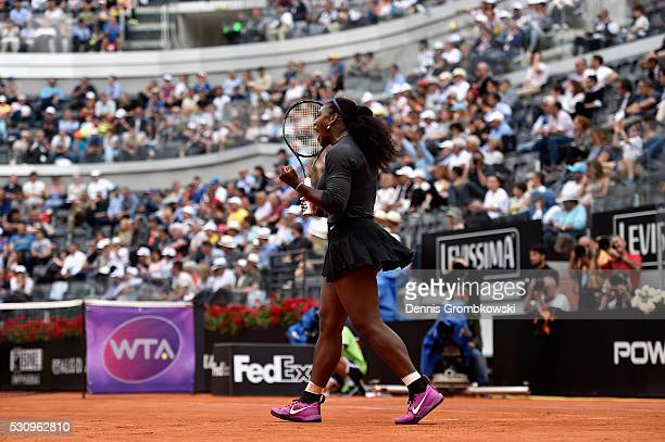 Serena Williams of the United States celebrates first set in her match against Christina Mchale of the United States on Day Five of The...