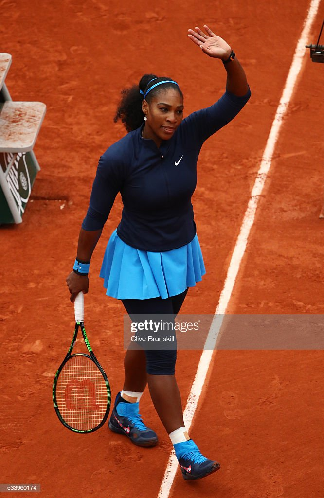 <a gi-track='captionPersonalityLinkClicked' href=/galleries/search?phrase=Serena+Williams&family=editorial&specificpeople=171101 ng-click='$event.stopPropagation()'>Serena Williams</a> of the United States celebrates following victory during the Women's Singles first round match against Magdalena Rybarikova of Slovakia on day three of the 2016 French Open at Roland Garros on May 24, 2016 in Paris, France.