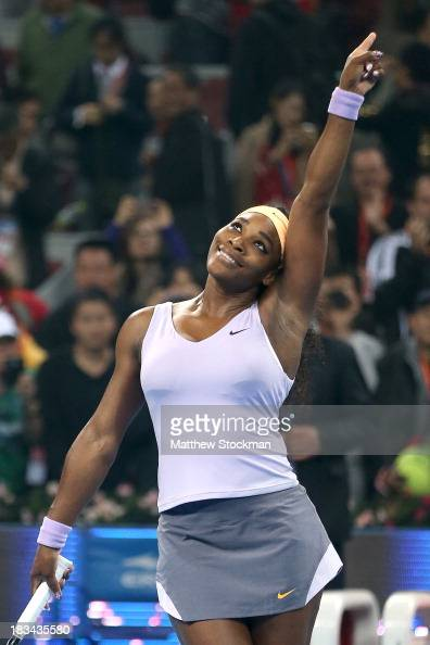 Serena Williams of the United States celebrates her win over Jelena Jankovic of Serbia during the final of the 2013 China Open at the National Tennis...