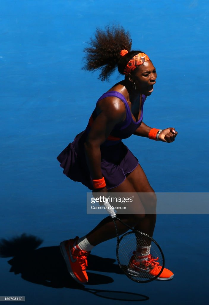 <a gi-track='captionPersonalityLinkClicked' href=/galleries/search?phrase=Serena+Williams+-+Tennis+Player&family=editorial&specificpeople=171101 ng-click='$event.stopPropagation()'>Serena Williams</a> of the United States celebrates in her third round match against Ayumi Morita of Japan during day six of the 2013 Australian Open at Melbourne Park on January 19, 2013 in Melbourne, Australia.