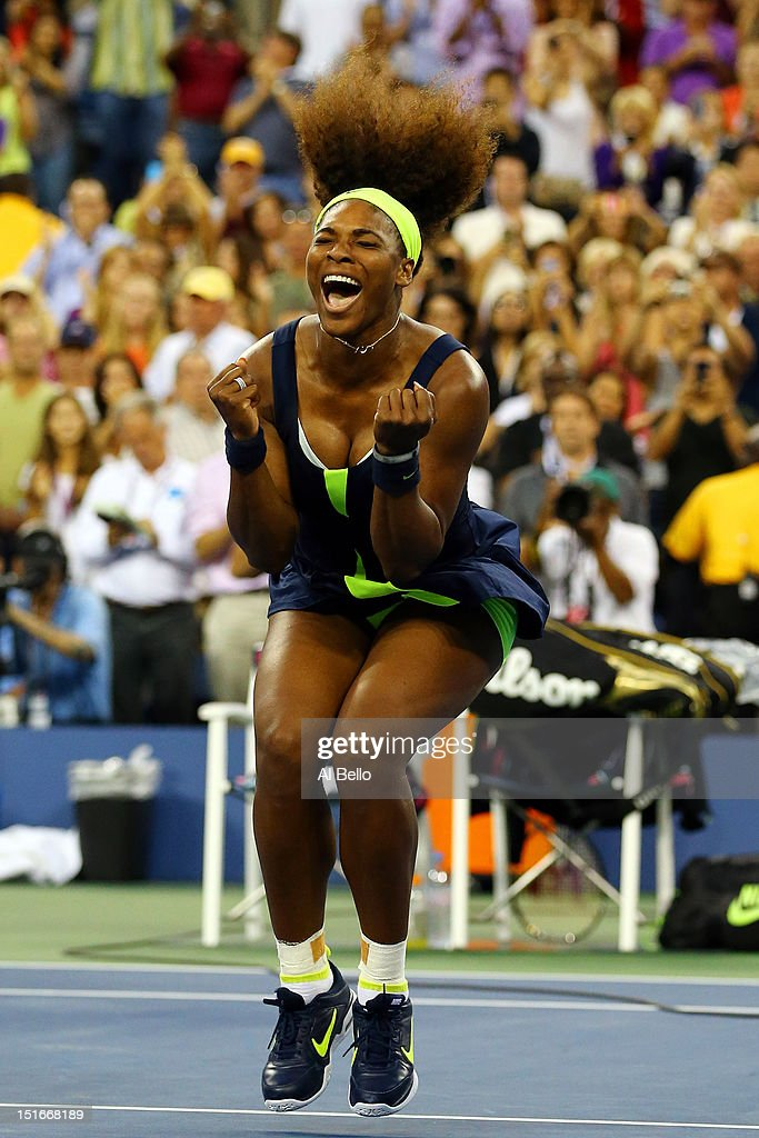 <a gi-track='captionPersonalityLinkClicked' href=/galleries/search?phrase=Serena+Williams&family=editorial&specificpeople=171101 ng-click='$event.stopPropagation()'>Serena Williams</a> of the United States celebrates match point after defeating Victoria Azarenka of Belarus to win the women's singles final match on Day Fourteen of the 2012 US Open at USTA Billie Jean King National Tennis Center on September 9, 2012 in the Flushing neighborhood of the Queens borough of New York City.