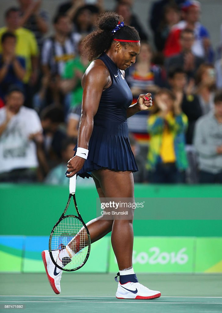 Serena Williams of the United States celebrates match point and victory during the Women's Singles second round match against Alize Cornet of France on Day 3 of the Rio 2016 Olympic Games at the Olympic Tennis Centre on August 8, 2016 in Rio de Janeiro, Brazil.