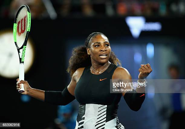 Serena Williams of the United States celebrates match point in her second round match against Lucie Safarova of the Czech Republic on day four of the...