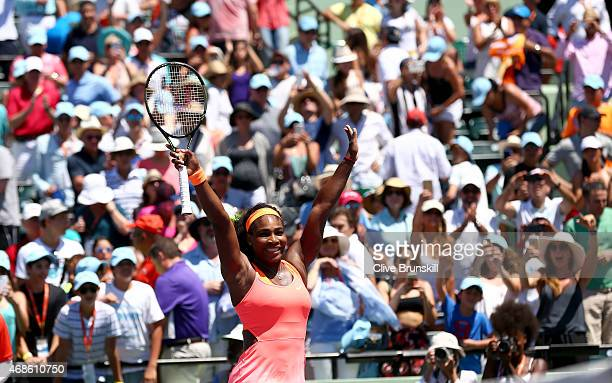 Serena Williams of the United States celebrates to the crowd after her straight sets victory against Carla Suarez Navarro of Spain in the final...