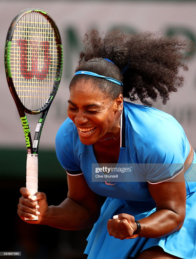 <a gi-track='captionPersonalityLinkClicked' href=/galleries/search?phrase=Serena+Williams&family=editorial&specificpeople=171101 ng-click='$event.stopPropagation()'>Serena Williams</a> of the United States celebrates victory during the Ladies Singles third round match against Kristina Mladenovic of France on day seven of the 2016 French Open at Roland Garros on May 28, 2016 in Paris, France.