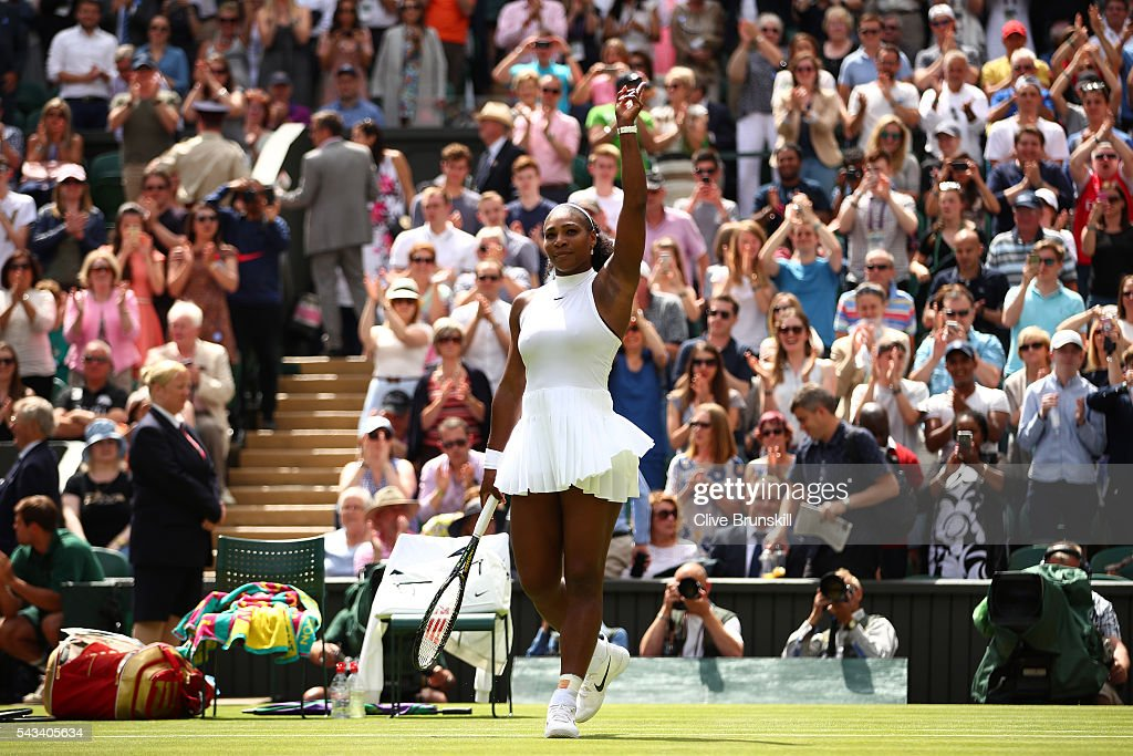 <a gi-track='captionPersonalityLinkClicked' href=/galleries/search?phrase=Serena+Williams+-+Tennis+Player&family=editorial&specificpeople=171101 ng-click='$event.stopPropagation()'>Serena Williams</a> of The United States celebrates victory following the Ladies Singles first round match against Amra Sadikovic of Switzerland on day two of the Wimbledon Lawn Tennis Championships at the All England Lawn Tennis and Croquet Club on June 28, 2016 in London, England.
