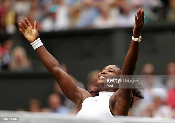Serena Williams of The United States celebrates victory following The Ladies Singles Final against Angelique Kerber of Germany on day twelve of the...