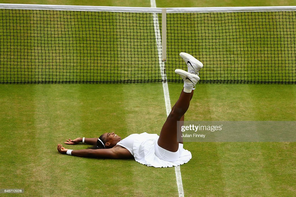 Serena Williams of The United States celebrates victory following The Ladies Singles Final against Angelique Kerber of Germany on day twelve of the Wimbledon Lawn Tennis Championships at the All England Lawn Tennis and Croquet Club on July 9, 2016 in London, England.
