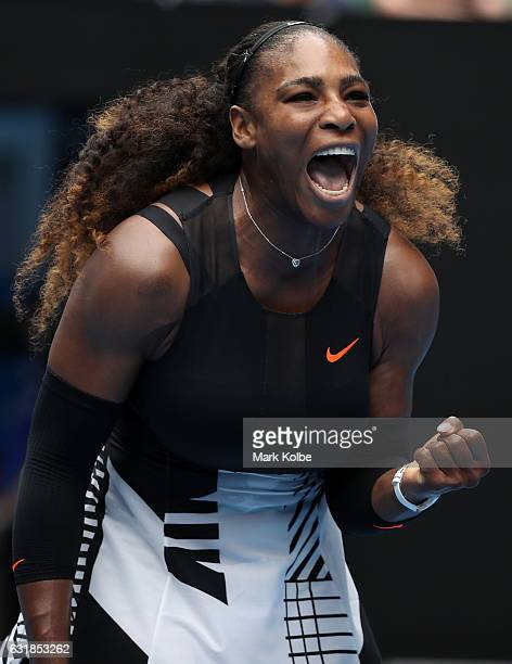 Serena Williams of the United States celebrates winning a point her first round match against Belinda Bencic of Switzerland on day two of the 2017...