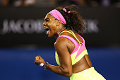 Serena Williams of the United States celebrates winning a point in her women's final match against Maria Sharapova of Russia during day 13 of the...