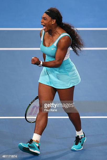 Serena Williams of the United States celebrates winning a set in her singles match against Lucie Safarova of the Czech Republic during day five of...