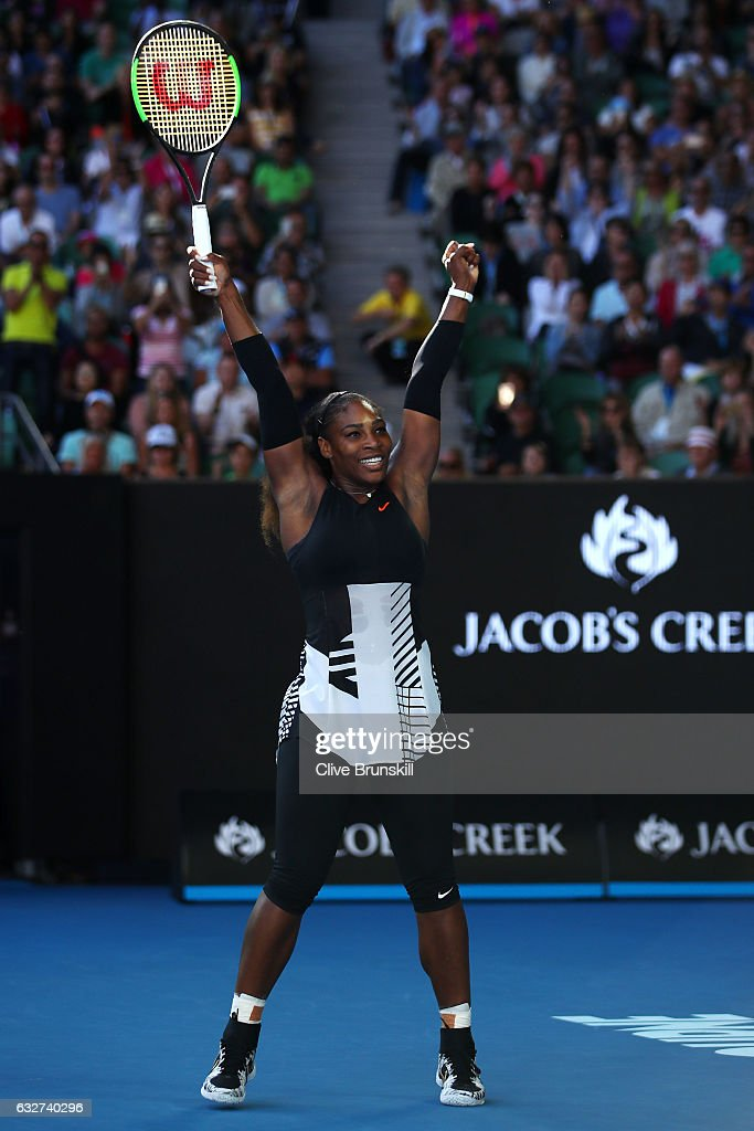 Serena Williams of the United States celebrates winning her semifinal match against Mirjana Lucic-Baroni of Croatia on day 11 of the 2017 Australian Open at Melbourne Park on January 26, 2017 in Melbourne, Australia.