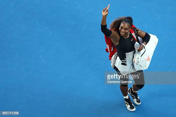 Serena Williams of the United States celebrates winning her semifinal match against Mirjana LucicBaroni of Croatia on day 11 of the 2017 Australian...