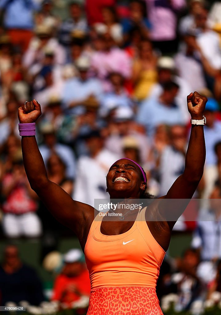 Serena Williams of the United States celebrates winning the Women's Singles Final against Lucie Safarova of Czech Repbulic on day fourteen of the...