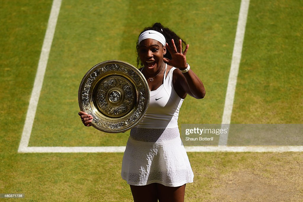 <a gi-track='captionPersonalityLinkClicked' href=/galleries/search?phrase=Serena+Williams&family=editorial&specificpeople=171101 ng-click='$event.stopPropagation()'>Serena Williams</a> of the United States celebrates with the Venus Rosewater Dish after her victory in the Final Of The Ladies' Singles against Garbine Muguruza of Spain during day twelve of the Wimbledon Lawn Tennis Championships at the All England Lawn Tennis and Croquet Club on July 11, 2015 in London, England.