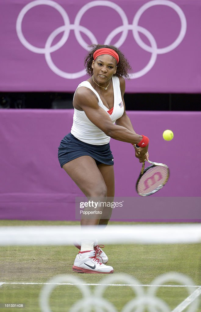 Serena Williams of the United States competing against Andrea Hlavackova and Lucie Hradecka of Czech Republic in the Women's Doubles Tennis gold medal match on Day 9 of the London 2012 Olympic Games at the All England Lawn Tennis and Croquet Club on August 5, 2012 in London, England.