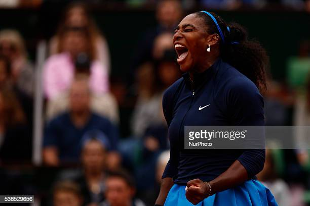 Serena Williams of the United States during the Ladies Singles final match against Garbine Muguruza of Spain on day fourteen of the 2016 French Open...