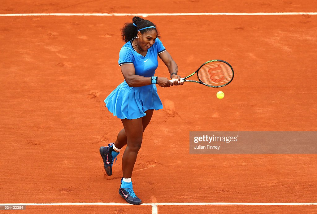 <a gi-track='captionPersonalityLinkClicked' href=/galleries/search?phrase=Serena+Williams&family=editorial&specificpeople=171101 ng-click='$event.stopPropagation()'>Serena Williams</a> of the United States hits a backhand during the Ladies Singles second round match against Teliana Pereira of Brazil on day five of the 2016 French Open at Roland Garros on May 26, 2016 in Paris, France.