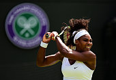 Serena Williams of the United States hits a backhand in her Ladies's Singles first round match against Margarita Gasparyan of Russia during day one...
