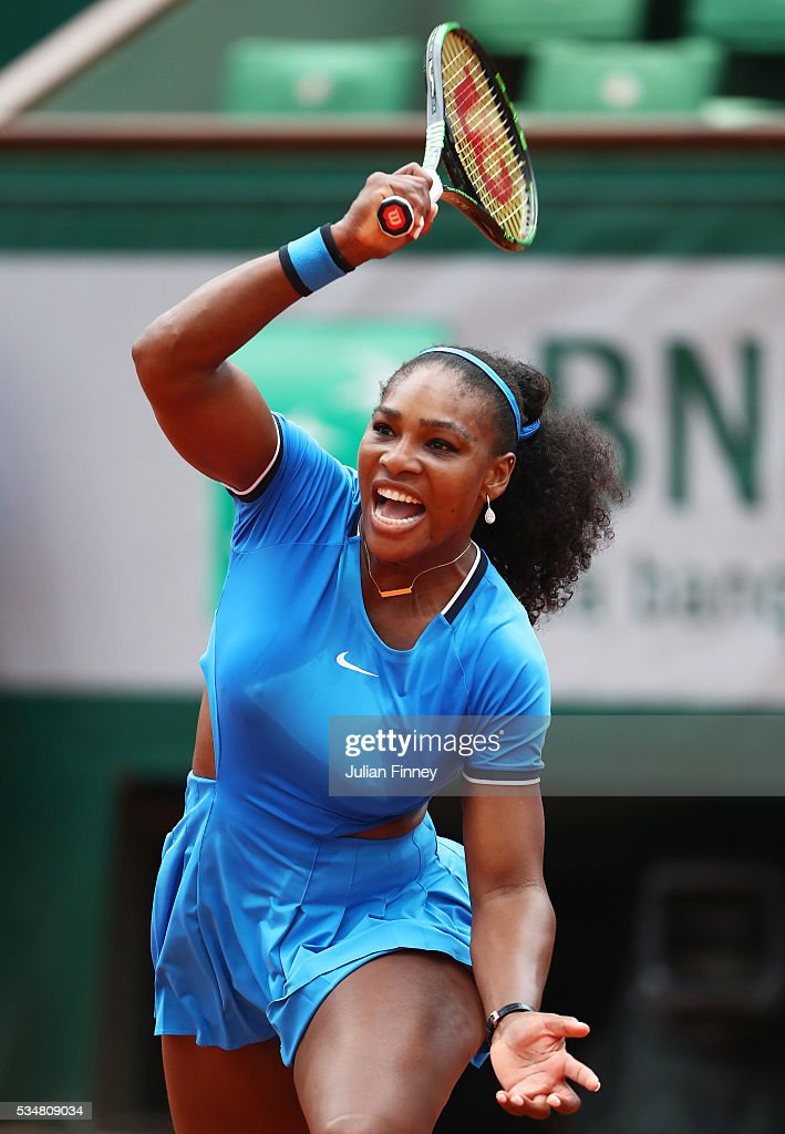 <a gi-track='captionPersonalityLinkClicked' href=/galleries/search?phrase=Serena+Williams&family=editorial&specificpeople=171101 ng-click='$event.stopPropagation()'>Serena Williams</a> of the United States hits a forehand during the Ladies Singles third round match against Kristina Mladenovic of France on day seven of the 2016 French Open at Roland Garros on May 28, 2016 in Paris, France.