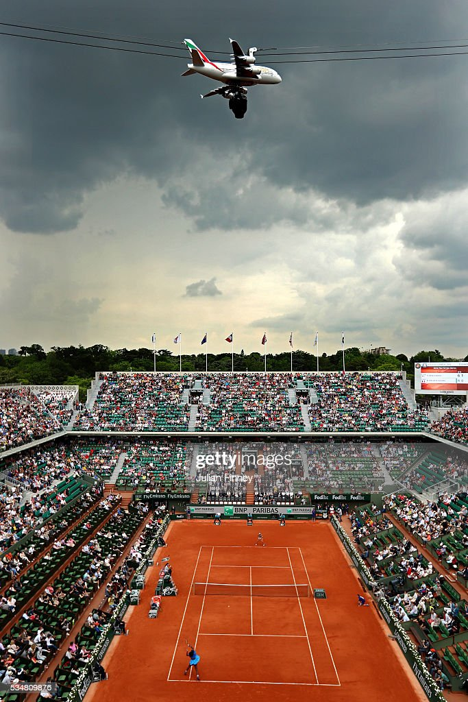 Serena Williams of the United States hits a forehand during the Ladies Singles third round match against Kristina Mladenovic of France on day seven of the 2016 French Open at Roland Garros on May 28, 2016 in Paris, France.