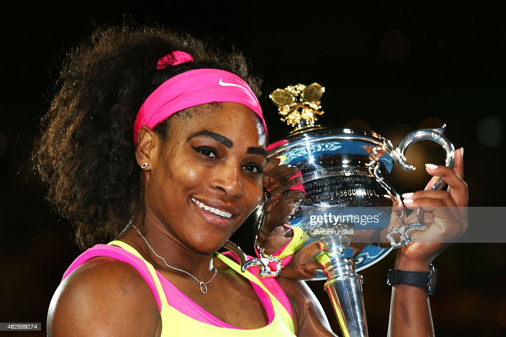 <a gi-track='captionPersonalityLinkClicked' href=/galleries/search?phrase=Serena+Williams+-+Tennis+Player&family=editorial&specificpeople=171101 ng-click='$event.stopPropagation()'>Serena Williams</a> of the United States holds the Daphne Akhurst Memorial Cup after winning the women's final match against Maria Sharapova of Russia during day 13 of the 2015 Australian Open at Melbourne Park on January 31, 2015 in Melbourne, Australia.