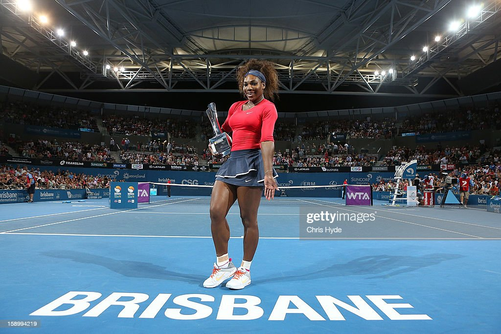 <a gi-track='captionPersonalityLinkClicked' href=/galleries/search?phrase=Serena+Williams&family=editorial&specificpeople=171101 ng-click='$event.stopPropagation()'>Serena Williams</a> of the United States holds the winners trophy after winning her final match against Anastasia Pavlyuchenkova of Russia on day seven of the Brisbane International at Pat Rafter Arena on January 5, 2013 in Brisbane, Australia.