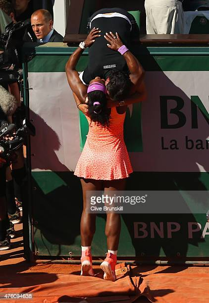 Serena Williams of the United States hugs her coach Patrick Mouratoglou after victory in the Women's Singles Final against Lucie Safarova of Czech...