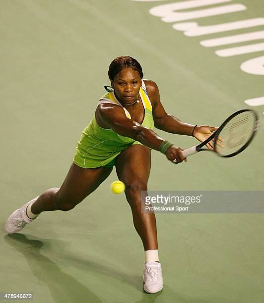 Serena Williams of the United States in action against Maria Sharapova of Russia on day thirteen of the Australian Open 2007 at Melbourne Park on...