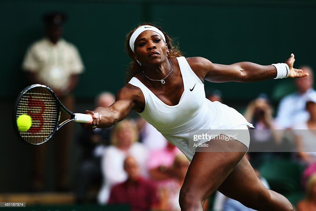 <a gi-track='captionPersonalityLinkClicked' href=/galleries/search?phrase=Serena+Williams+-+Tennis+Player&family=editorial&specificpeople=171101 ng-click='$event.stopPropagation()'>Serena Williams</a> of the United States in action during her Ladies' Singles first round match against Anna Tatishvili of the United States on day two of the Wimbledon Lawn Tennis Championships at the All England Lawn Tennis and Croquet Club at Wimbledon on June 24, 2014 in London, England.