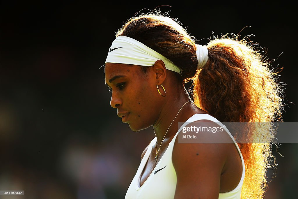 <a gi-track='captionPersonalityLinkClicked' href=/galleries/search?phrase=Serena+Williams&family=editorial&specificpeople=171101 ng-click='$event.stopPropagation()'>Serena Williams</a> of the United States in action during her Ladies' Singles first round match against Anna Tatishvili of the United States on day two of the Wimbledon Lawn Tennis Championships at the All England Lawn Tennis and Croquet Club at Wimbledon on June 24, 2014 in London, England.