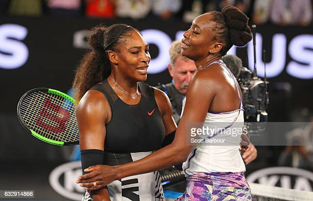 Serena Williams of the United States is congratulated by Venus Williams of the United States after winning the Women's Singles Final match against on...