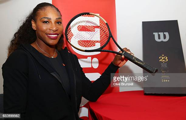 Serena Williams of the United States is presented with a special 23 Grand Slam Tennis Racket after winning the 2017 Women's Singles Final at...