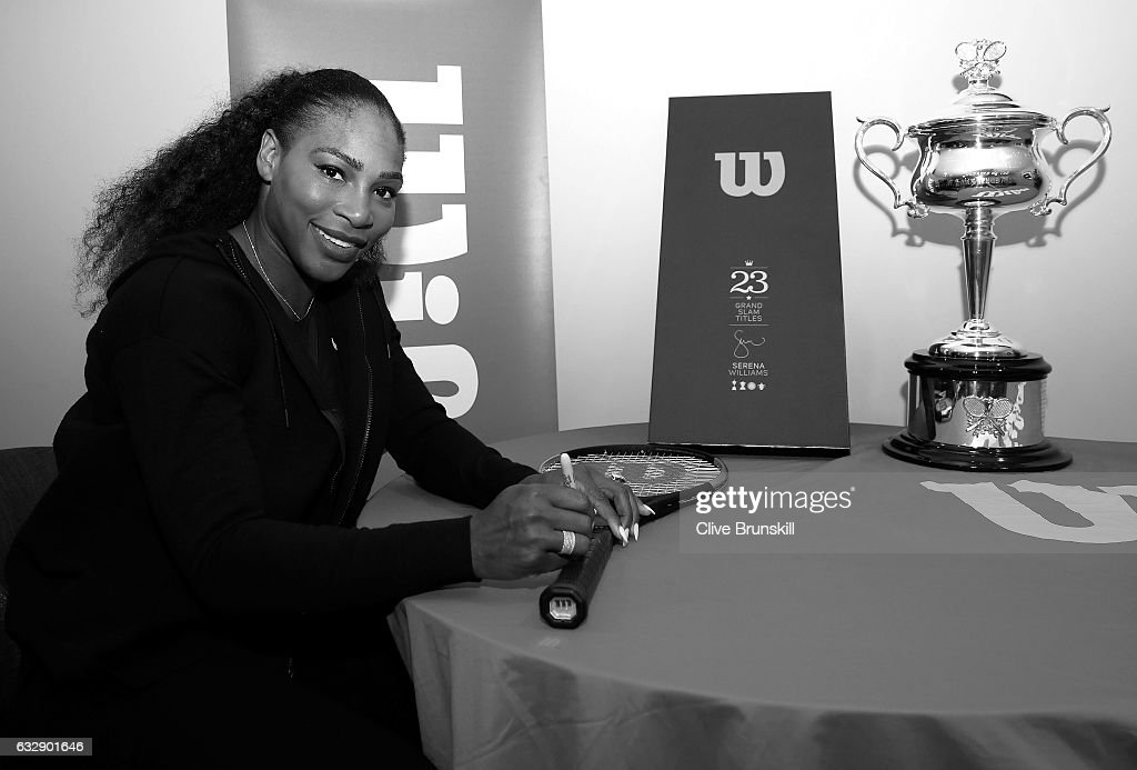 Serena Williams of the United States is presented with a special 23 Grand Slam Tennis Racket after winning the 2017 Women's Singles Final at Melbourne Park on January 28, 2017 in Melbourne, Australia.