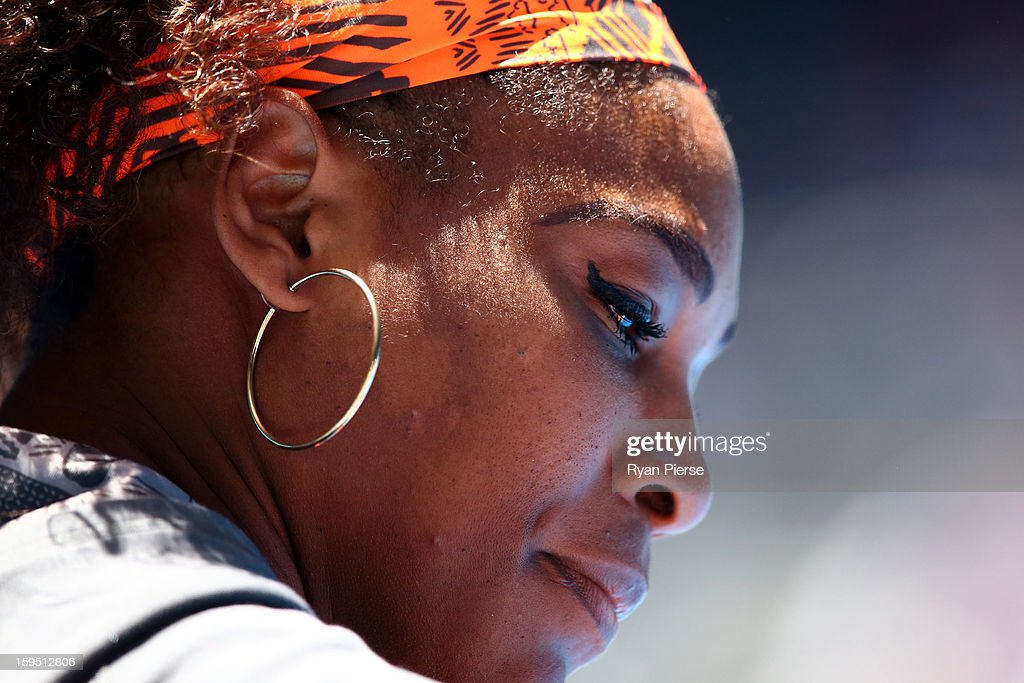 <a gi-track='captionPersonalityLinkClicked' href=/galleries/search?phrase=Serena+Williams&family=editorial&specificpeople=171101 ng-click='$event.stopPropagation()'>Serena Williams</a> of the United States looks on in her first round match against Edina Gallovits-Hall of Romania during day two of the 2013 Australian Open at Melbourne Park on January 15, 2013 in Melbourne, Australia.