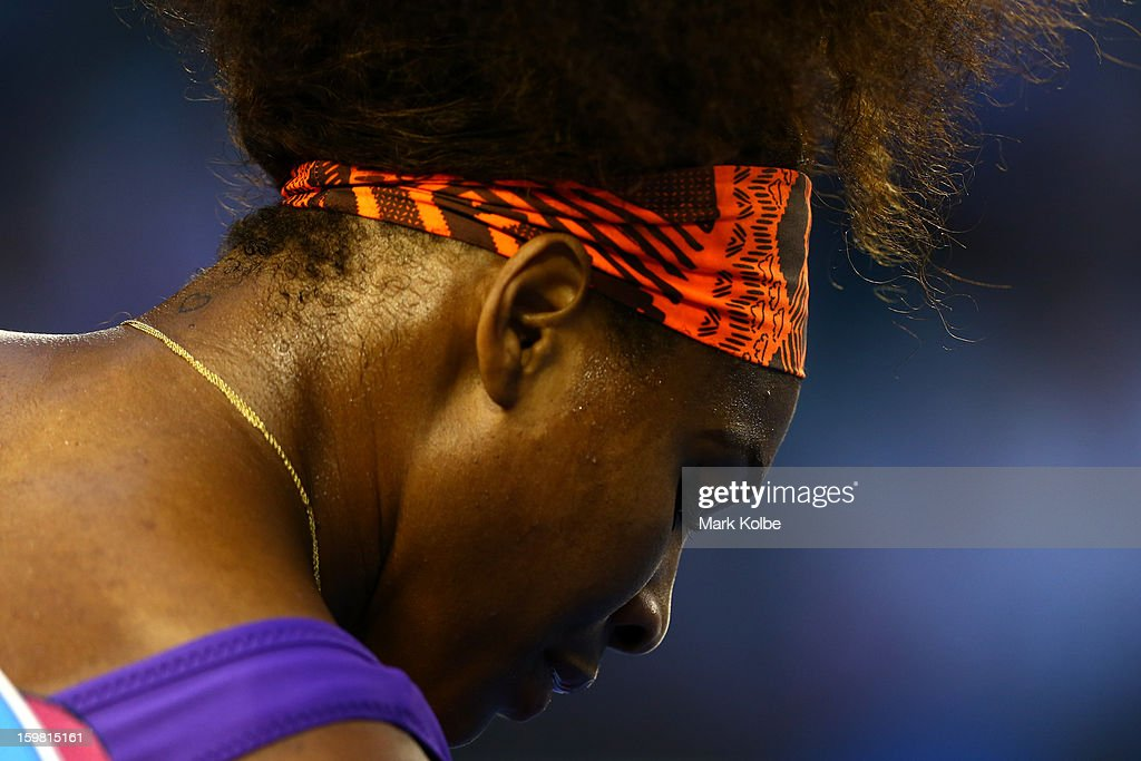 Serena Williams of the United States looks on in her fourth round match against Maria Kirilenko of Russia during day eight of the 2013 Australian Open at Melbourne Park on January 21, 2013 in Melbourne, Australia.
